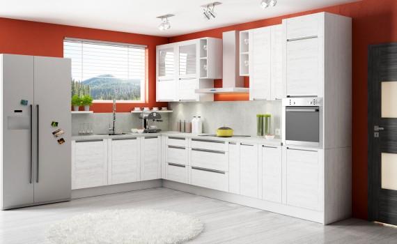 Blat idealnie dopasowany do frontów to również jeden z zabiegów polecanych w nowoczesnych kuchniach, głównie tych utrzymanych w stylu minimalistycznym ? jak kuchnia Olivia Soft. Fot. KAM