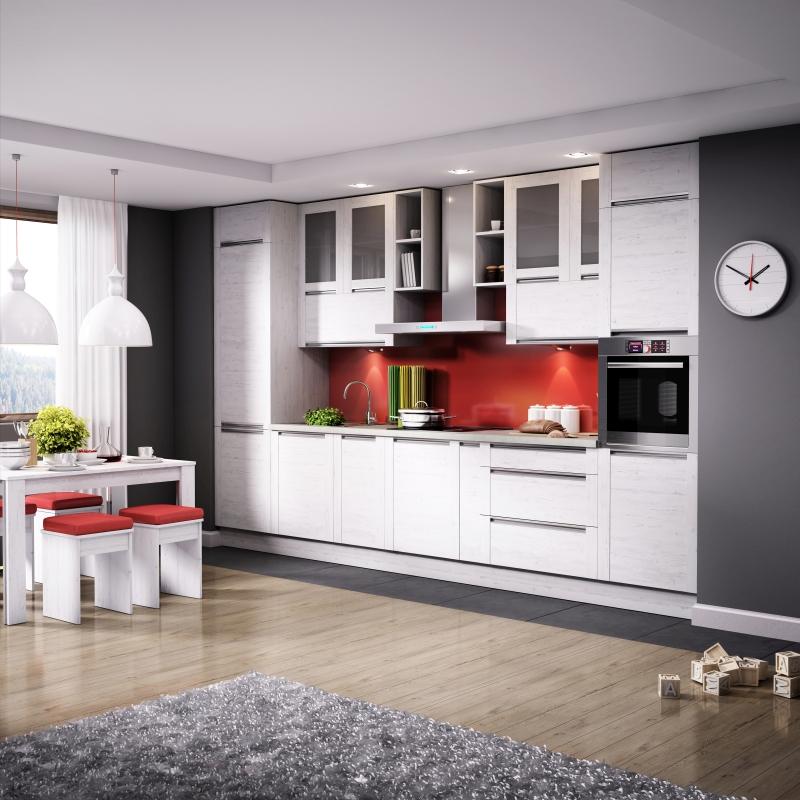 Jednym ze sposobów zaaranżowania kuchni jednorzędowej jest ustawienie dwóch większych słupków z zabudowanym sprzętem AGD na dwóch końcach z wnęką na blat roboczy pomiędzy nimi, jak w aranżacji kuchni OLIVIA Soft. Fot. KAM