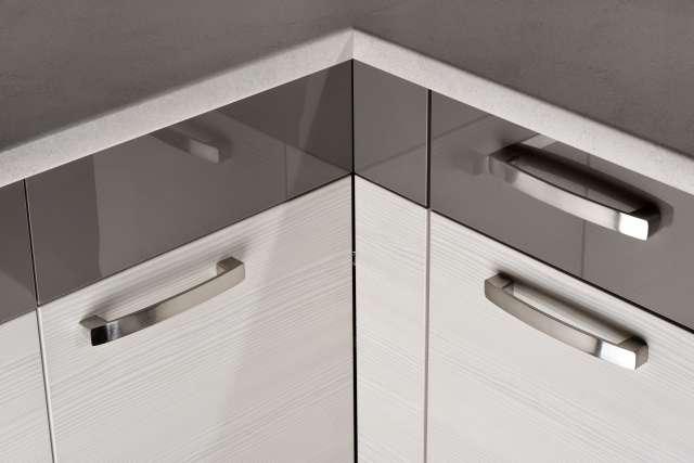 Dobrym wyborem są fronty akrylowane. Blask akrylowanych powierzchni nada elegancki wygląd kuchni. Dodatkowo płyta akrylowana łączy się doskonale z innymi materiałami. Fot. KAM