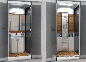 Umywalka z przodu, kabina prysznicowa z tyłu - mini łazienka zajmuje tylko 1 metr kwadratowy. Fot. Hettich/Rehau