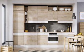 Bez zbędnego przepychu, za to ze smakiem - linia KAMudo ML. Stonowana rustykalność dekoru buk jasny w połączeniu z dekoracyjnymi białymi akcentami i asymetryczną kompozycją zabudowy, to sposób na niebanalne wnętrze, które wpisuje się jednak w prostą estetykę przyjaznych i naturalnych wnętrz. Fot. KAM