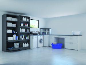 Osobne pomieszczenie gospodarcze, to luksus, najczęściej jednak na pralkę a coraz częściej również suszarkę do ubrań musimy wygospodarować miejsce w łazience. Sprzęt AGD można estetycznie zamaskować drzwiami składanymi WingLine L ujednolicając całą zabudowę meblową. Fot. Hettich