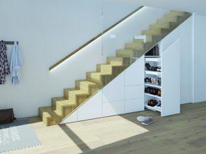 System Big Org@Tower Wood zapewni wygodne miejsce pod schodami do przechowywania np. obuwia, a pomiędzy półkami znajdzie się miejsce na dodatkowe szufladki z systemu SmarTray, w których można przechowywać podręczne drobiazgi. Fot. Hettich