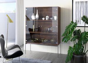 Zawias Sensys perfekcyjnie i w estetyczny sposób łączy szklane fronty z korpusem mebla, który może być wykonany podobnie jak fronty ze szkła lub bardziej tradycyjnie z drewna. Fot. Hettich