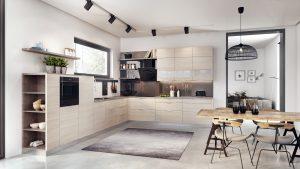 W kuchni każda powierzchnia jest cenna i warto ją spożytkować. Pomiędzy oknem a blatem roboczym z powodzeniem można zamontować relingi na podręczne akcesoria kuchenne. Fot. KAM