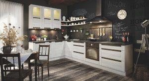 Dekory kamienne idealnie komponują się z drewnem, tworząc wymarzoną scenerię dla kuchni Olivia zaaranżowanej w stylu rustykalnym. Fot. KAM