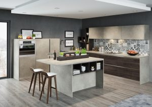 Prosta, minimalistyczna bryła wyspy kuchennej kryje w sobie ciekawy akcent w postaci otwartych półeczek, wyróżnionych kontrastowym dekorem, powtórzonym na frontach mebli z kolekcji KAMmoduł Pro-Line. Fot. KAM
