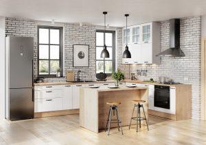 Białe fronty to dobry wybór do kuchni urządzonej w każdym stylu. Jeżeli zależy nam na harmonijnym połączeniu prostoty i przytulności, warto połączyć biel z dekorami drewna. Ocieplającym elementem są również dekoracyjne frezy na frontach. Fot. KAM