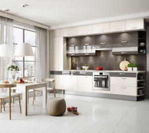 Identyczny stół i zabudowa kuchenna z systemu KAMduo XL tworzą estetyczną całość. Strefę jadalnianą można zaznaczyć symbolicznie zawieszając nad stołem lampy o bardziej dekoracyjnym charakterze. Fot. KAM